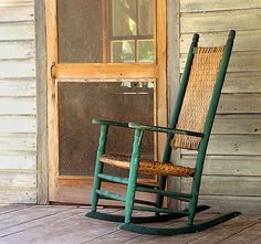 Sittin in the rocker on the front porch and hearing that screen door slam...oh yeah!  My grandpa's rocker was just like this one except not painted, I still have it!!!