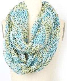 Loving this Cool Sea & Blue Kitty Dot Infinity Scarf on #zulily! #zulilyfinds