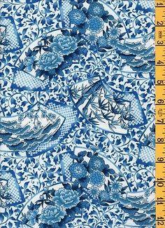 "1Yd 28"" Quilt Sew Cotton Fabric Kona Korakuen Blue & White Asian Multi Floral"