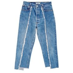Women's Bonum Raw Seam Crop Jeans (585 BAM) ❤ liked on Polyvore featuring jeans, blue, frayed jeans, cropped jeans and blue jeans