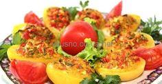 картофель фаршированый брынзой и помидорами