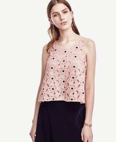 """Breezily+cut+with+a+hint+of+swing,+our+cotton+lace+tank+exudes+a+feminine+air+that's+soft,+romantic+and+perennially+pretty.+Jewel+neck.+Sleeveless.+Back+keyhole+with+button+closure.+Elliptical+hem.+21""""+front+length;+21+1/2""""+back+length."""