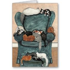 Created from my Curious Kitties Series of Original paintings. #cat #greeting #card #amylyn #bihrle #artist #favorite #chair #print #siamese #tuxedo #persian #calico