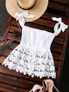 Off The Shoulder Lace Sheer Stripe Top (White) Look Fashion, Fashion Outfits, Womens Fashion, Trendy Fashion, Fashion Styles, Fashion Clothes, Essentiels Mode, Looks Style, My Style