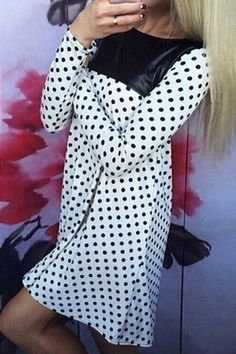 PU Leather Spliced Polka Dot Dress