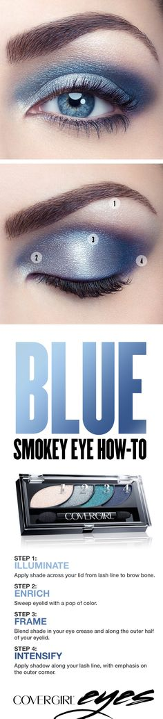 Try this step-by-step tutorial for a colorful blue smokey eye, featuring COVERGIRL Eyeshadow Quads in Breathtaking Blues. The COVERGIRL Eyeshadow Quads palette makes it easy, with numbered steps to help you get the gorgeous looks you want. Perfect for any occasion when you'd like to try something other than a standard black smokey eye.