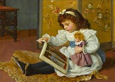 """(girl reading to her doll) by Charles Haigh-Wood (1893) """"To learn to read is to light a fire; every syllable that is spelled out is a spark."""" -- Victor Hugo"""