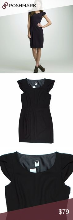 "New JCREW Black Portfolio Dress in Wool Crepe This new black portfolio dress in wool crepe from JCREW features a hidden side zip closure, cap sleeves and is fully lined. Made of 100% wool. Measures: bust: 38"", hips: 40"", total length: 36.5"" J. Crew Dresses"