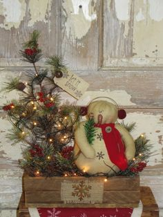 Primitive Snowman Pine and Lath Arrangement with lights