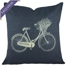 Add a pop of style to your sofa, arm chair, or window seat with this lovely cotton and linen-blend pillow, showcasing a charming bicycle motif. Handmade in t...