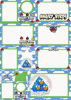 Angry Birds con Nubes: Invitaciones para Imprimir Gratis.