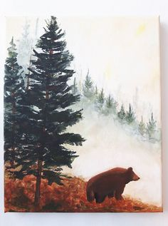 Watercolor tattoo - Black Bear Mountains Wildlife Nature Fine Art Watercolor Collector Print - malerei - New Watercolor Bear Watercolor, Watercolor Animals, Tattoo Watercolor, Mountains Watercolor, Painting Tattoo, Watercolor Water, Simple Watercolor, Watercolor Ideas, Art D'ours