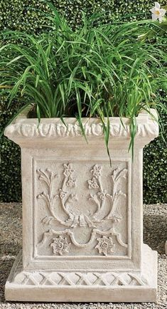 Inspired by the romantic grandeur of historical Provencal gardens, our eye-catching, all-weather planters feature gorgeously detailed designs including botanical motifs, ribbon laurels and artfully molded rims. The sturdy pulverized stone and polyresin construction ensures it will be a staple for showcasing flowers, grasses and topiaries for years to come. Boxwood Topiary, Topiaries, Trough Planters, Garden Planters, Red Poppies, Red Flowers, Grasses, Planter Boxes, Navy And Green