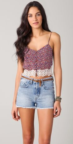 Charlotte Ronson Floral Silk Cropped Camisole