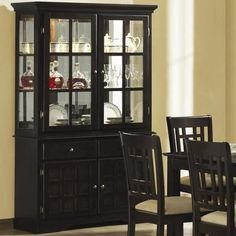 Love The Simple Black China Cabinet Dining Buffet Hutch Sideboard