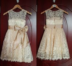 lovely  Princess Lace Bow Trimmed Baby Girl Princess Flower Girl Dress Flower  #FlowerGirlDress