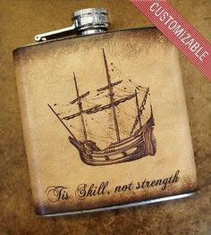 Custom Stainless Steel & Leather Flask - Sail Boat