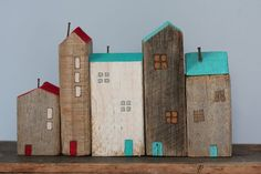 the village. by Jenny Walker Clay Houses, Ceramic Houses, Paper Houses, Miniature Houses, Wooden Houses, Pallet Art, Driftwood Art, Wooden Art, Wooden Blocks