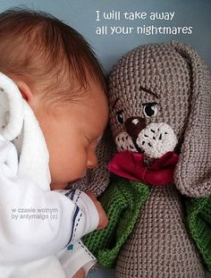 What do you get if you cross a cute bunny with a cute baby? Total Cuteness Alert! I want to snuggle up to both of these little guys. The bunny however can be stitched whilst the baby can be made&#8…