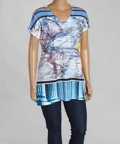 Look at this Citi Life Gray & Blue Map V-Neck Top - Plus on #zulily today!