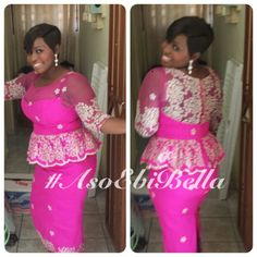 For the newbies, an a wedding guest {bella} looking stunning in aso-ebi – the fabric/colours of the day, at a - BellaNaija Weddings. African Inspired Fashion, African Fashion Dresses, African Dress, Short Gowns, Short Skirts, Latest African Styles, Lace Dress Styles, African Traditional Dresses, Aso Ebi