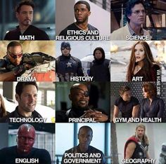 Actually: Vision - Math. Tony - Engineering and Physics. Bruce - Physics and Biology. T'Challa - African History and Martial Arts/Gymnastics. Bucky - Linguistics. Steve - Ethics, Drawing 101 and Boxing. Sam - School Counselor and Therapist.