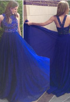 Sexy Long Royal Blue Chiffon Prom Dresses Featuring Rhinestone Beaded Bodice -- Floor Length Formal Gowns, Party Dresses royal blue hoco dress / royal blue party dress / blue gown royal / white and royal blue wedding / blue dress royal Royal Blue Party Dress, Royal Blue Dresses, Blue Gown, Evening Party Gowns, Evening Dresses, Formal Prom, Formal Gowns, Beautiful Prom Dresses, Party Dresses For Women
