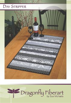 Need a quick quilt-as-you-go project? Have some odd sized strips of favorite fabric left from other projects? This table runner sews quick. Patchwork Table Runner, Table Runner And Placemats, Table Runner Pattern, Quilted Table Runners, Quilt Placemats, Card Patterns, Quilt Patterns, Sewing Patterns, Quilting Ideas