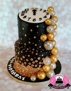 Bubbly New Years Eve Birthday Cake