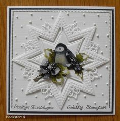 Voorbeeldkaart - geen titel - Categorie: Stansapparaten - Hobbyjournaal uw hobby website Christmas Cards To Make, Christmas Tag, Holiday Cards, Christmas Crafts, Star Cards, 3d Cards, Fancy Fold Cards, Folded Cards, Marianne Design Cards