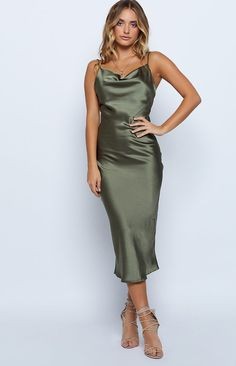 Schiffer Slip Midi Dress Khaki Source by Green Satin Dress, Green Midi Dress, Silky Dress, Khaki Dress, Satin Dresses, Formal Midi Dress, Curve Dresses, Satin Midi Dress, Slip Bridesmaids Dresses