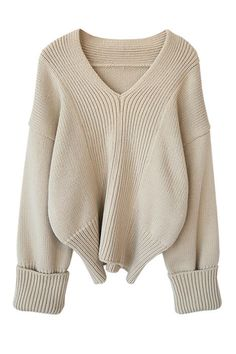 Cream Knitted Cropped Sweater with Oversized Sleeves
