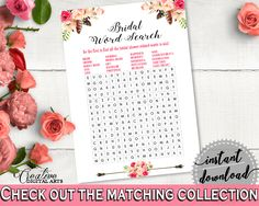 Word Search in Bohemian Flowers Bridal Shower Pink And Red Theme, wedding words, tribe shower, party ideas, bridal shower idea - 06D7T #bridalshower #bride-to-be #bridetobe