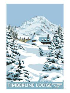 Timberline Lodge - Winter - Mt. Hood, Oregon, c.2009 Art Print