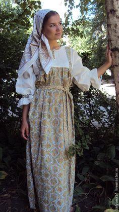 Платье-сарафан - зелёный,сарафан,русская рубаха,славянская рубаха,русский стиль