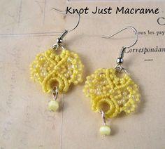 Pale Yellow Lace Beaded Macrame Earrings by KnotJustMacrame