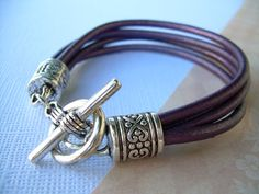 Purple Leather Bracelet, Womens Leather Bracelet, Leather Bracelet, Gift For Her, Purple Gift, Womens Bracelet, Womens Jewelry, Jewelry