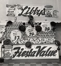 A Libby's canned food display decked out with western wear hats, 1950s. #vintage #supermarket #shopping