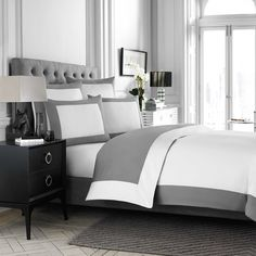 $149 Wamsutta® Hotel MICRO COTTON® Reversible Duvet Cover in White/Charcoal