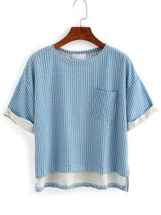 Vertical Striped High-Low Pocket T-shirt - Blue