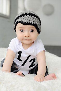 Baby boy crochet hat, newsboy, beanie, gray and black, newborn, baby fashion, photo prop on Etsy, $10.99