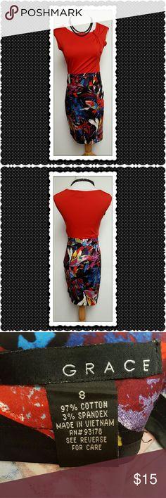 Grace Multicolored Pencil Skirt Grace multicolored printed skirt. Pencil skirt. Side zip closure. Perfect, no flaws. Grace Skirts Pencil