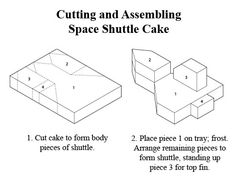 how to cut cake for space shuttle cake...use as basic design