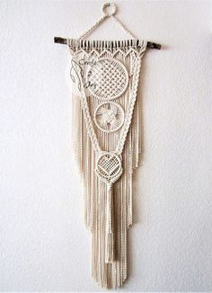 Macrame wall hanging - Intertwining - unique and stylish wall decor for your wedding, home or office. Great for photo zone. Real pine branch from the Hill Country ranch, cotton ropes. Original idea, design and handmade by Evgenia Garcia. Rope color: natural Dimensions: Branch length –