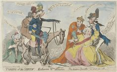 The Taming of the Shrew: James Gillray's Katherine and Petruchio - The Modern Quixotte, 1791. Source: Shakespeare at Yale: 'While these visions did appear': Shakespeare on Canvas.