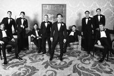 Black Tie Groom and Groomsmen   David Wittig Photography   TheKnot.com