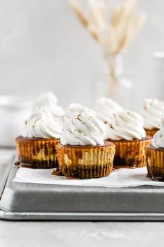 Mini Salted Caramel Pumpkin Cheesecakes | Browned Butter Blondie | This mini cheesecake recipe is the ultimate pumpkin Thanksgiving dessert. Full of delicious Fall flavors, these mini desserts have a crunchy gingersnap crust and a smooth and creamy pumpkin filling all drenched in a rich homemade salted caramel. Topped with a swirl of freshly whipped cream, a holiday dessert that will be the hit of your dinner party or gathering! Mini Cheesecake Recipes, Best Cheesecake, Pumpkin Cheesecake, Apple Recipes Easy, Easy Baking Recipes, Fall Recipes, Holiday Desserts, Mini Desserts, Ginger Snap Cookies