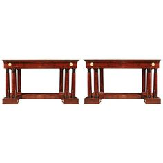 A Pair Of 19th Century French Empire St. Free Standing Consoles