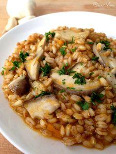 Primo piatto: farrotto alla crema di zucca con funghi porcini