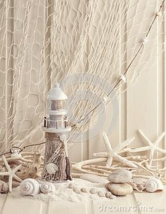 Ambesonne Fishing Net Decor Stall Shower Curtain, Marine Theme Sea Stars And Shells Underwater Life Wooden Lighthouse, Fabric Bathroom Decor Set With photo ideas from NEO Home Decor Coastal Living, Coastal Decor, Fish Net Decor, Deco Marine, Shell Decorations, Hawaiian Decor, Bathroom Decor Sets, Studio Apartment Decorating, Backdrop Design